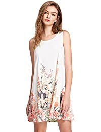 Women's Floral Print Sleeveless Loose Casual Swing...
