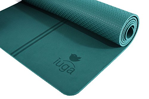 IUGA Non Slip Yoga Mat, Exclusive Alignment line for Proper Positioning, Bonus Yoga Mat Strap, Eco...