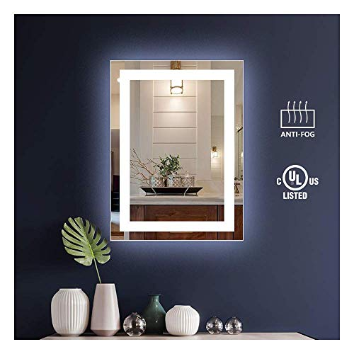 KIVA RHYME 20x28inch LED Lighted Bathroom Wall Mounted Mirror, Vertical Backlit Mirror -