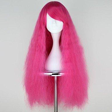 Burdeos y rosa larga Taro sintético Lolita Punk peluca, fucsia