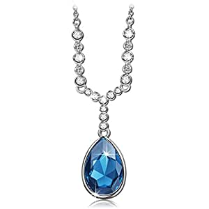 QIANSE Angel Tears Pendant Necklace Deep Blue Swarovski Crystals Fashion Jewelry for Women, Christmas Anniversary Birthday Gifts for Women Wife Girlfriend Daughter Sister Friend Mom Grandma