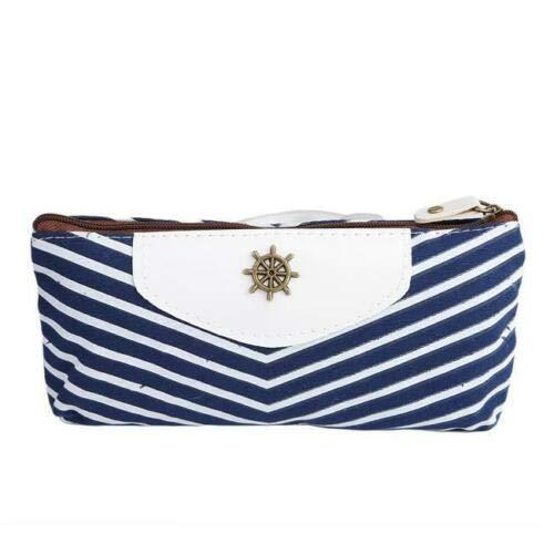 (New Portable Navy Canvas Pen Pencil Case Coin Purse Pouch Makeup Storage Bag (Color - Deep Blue))