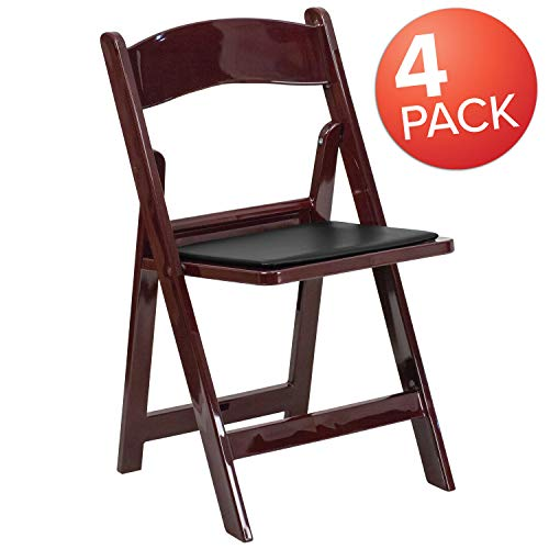 Flash Furniture 4 Pk. HERCULES Series 1000 lb. Capacity Red Mahogany Resin Folding Chair with Black Vinyl Padded Seat (Resin Dining Table)