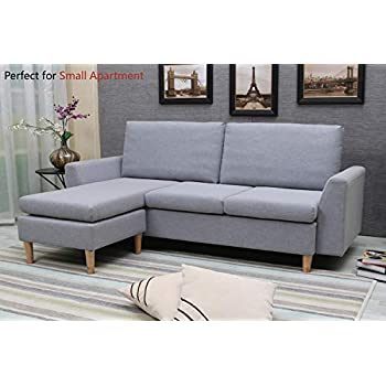 Phenomenal Sectional Sofa L Shape Sectional Couch With Reversible Chaise Couches And Sofas With Modern Linen Fabric For Small Space Grey Blue Creativecarmelina Interior Chair Design Creativecarmelinacom