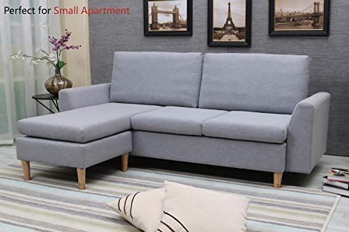 Sectional Sofa, L-Shape Sectional Couch with Reversible Chaise, Couches and Sofas with Modern Linen Fabric for Small Space (Grey-Blue) (Small Sofa Sectional Small Spaces For)