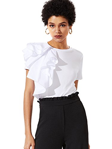 Romwe Women's Elegant Ruffle One Shoulder Clubwear Short Sleeve T-Shirt Tops White (Embellished Ruffle)