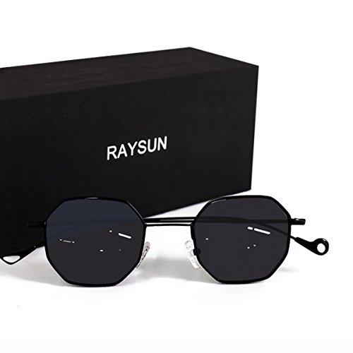 Sunglasses for women RAYSUN Small Metal Frame Asymmetry Temple Unisex Square Oval Sun - How Sunglasses Uv Rays Block