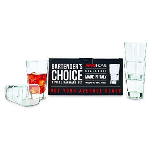 Global Amici Glass Highball Glass - Amici Bartender's Choice Palladio Quadro Hiball Glass, 14 oz. - Set of 4