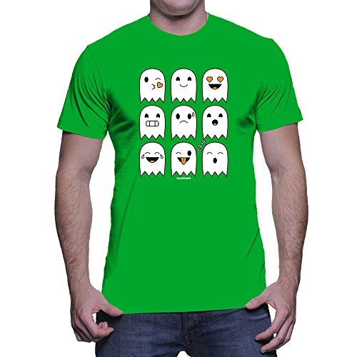 Men's Halloween Ghost Icons T-Shirt (Kelly, Large) -