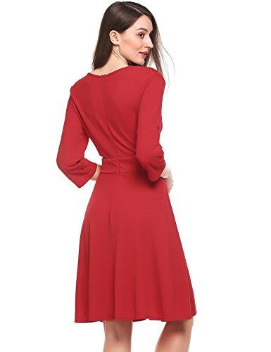 Angvns Sexy Multisegment V Cou Manches 3/4 Des Femmes Une Robe De Swing Ligne Plissée Rouge