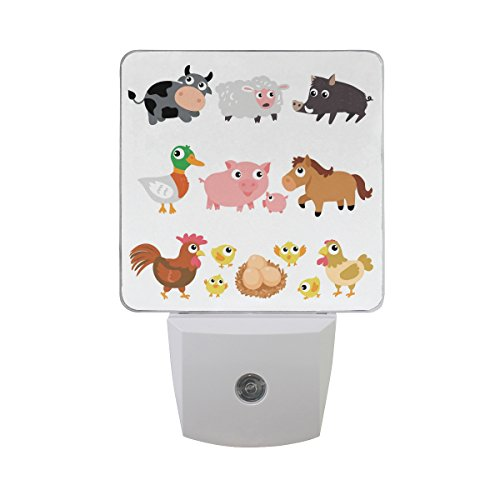 LED Night Light Farm Animals Auto Senor Dusk to Dawn Night Light great for Bedroom bathroom living room Hallway any dark room, for child and adults by Saobao by Saobao