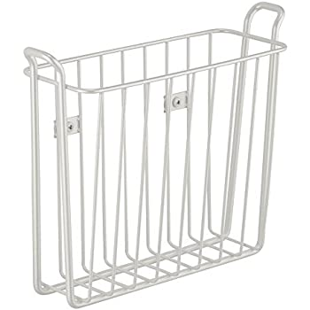 Interdesign classico wall mount newspaper and magazine rack for bathroom pearl for Magazine holder wall mount for bathrooms