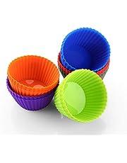 zanmini Pirottini Cupcake in silicone (Set di 24) Stampini per muffin e cupcake antiaderente e impilabili per facile da riporre/Silicone Alimentare/senza BPA/lavabili in lavastoviglie