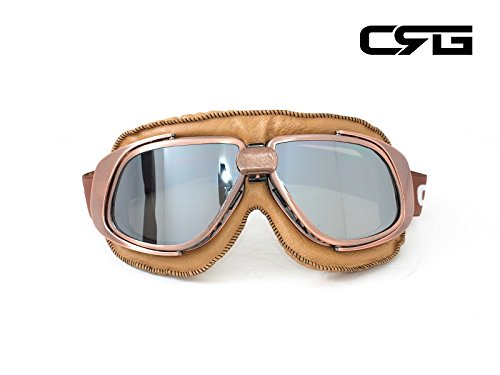 CRG Sports Vintage Aviator Pilot Style Motorcycle Cruiser Scooter Goggle T10 T10NSN Silver lens, copper color frame, brown padding