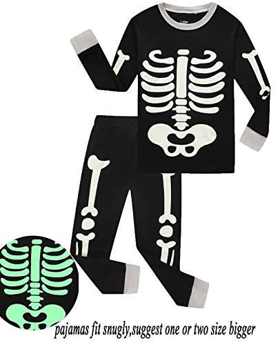 Babyroom Boys Cotton 2 Piece Halloween Skeleton Glow in thedark Costumes Toddler Pjs -