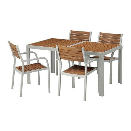 SJALLAND シェランド テーブル+チェアアームレスト付き4 屋外用, ライトブラウン, ライトグレー 792.650.64 B07FGWLBRN