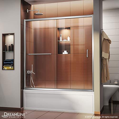 DreamLine Infinity-Z 56-60 in. W x 58 in. H Semi-Frameless Sliding Tub Door, Clear Glass in Chrome, SHDR-0960580-01
