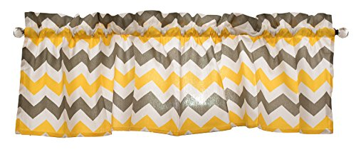 Gray Curtain Valance for Windows - Crabtree Collection - Noble Gray/Yellow Chevron (16 x 60)