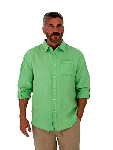 Green Linen Button (Short Fin Men's Long Sleeve Linen Shirt (Large, Lime L8060L))