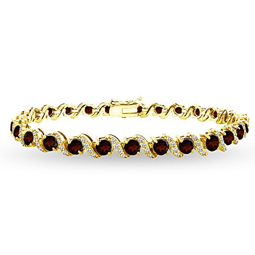 (GemStar USA Yellow Gold Flashed Sterling Silver Garnet 4mm Round-Cut S Design Tennis Bracelet with White Topaz Accents)