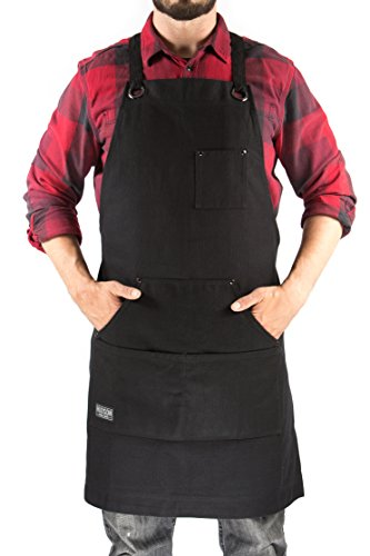 Hudson Durable Goods - Heavy Duty Waxed Canvas Work Apron (Black), Adjustable up to XXL for Men & Women