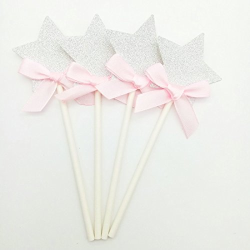 Paity silver Star cupcake toppers star pink ribbon cupcake toppers star food picks twinkle twinkle star banner star first birthday Wedding Cupcake Topper / set of 18 (Pink Star Silver)