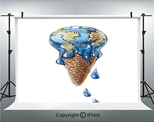 Ice Cream Decor Photography Backdrops Ice Cream with Globe Planet Earth Flavor Ecological Graphic Decorative,Birthday Party Background Customized Microfiber Photo Studio Props,5x3ft,Light Caramel Viol