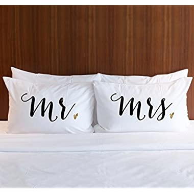 Pillowcase Set  Mr & Mrs  Pair of 2 Pillowcases for Couples (2 Standard/Queen Pillowcases) Wedding Gift, Bridal Shower Gift or Anniversary Gift for Him or Her