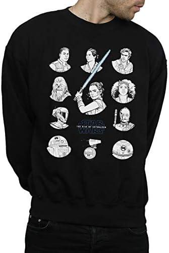 Star Wars Herren The Rise of Skywalker Resistance Charcter Line Up Mono Sweatshirt Schwarz XXXX-Large