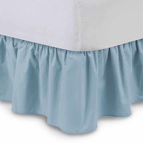 (Shop Bedding Ruffled Bedskirt (Twin, Porcelain Blue) 18 Inch Bed Skirt with Platform, Wrinkle and Fade Resistant - by Harmony Lane (Available in All Bed Sizes and 16 Colors))