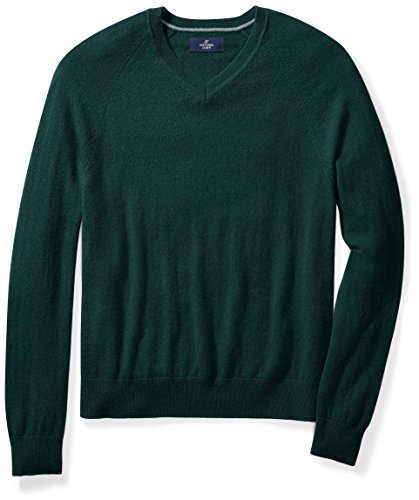 Buttoned+Down+Men%27s+Cashmere+V-Neck+Sweater%2C+Green%2C+3XL