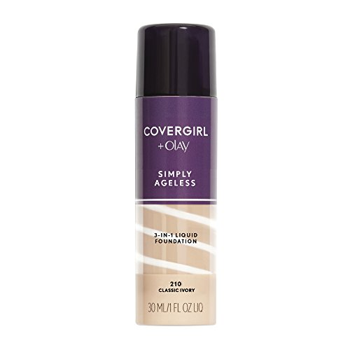 COVERGIRL + Olay Simply Ageless 3-in-1 Liquid Foundation, the #1 Anti-Aging Foundation Now In A Liquid, Classic Ivory Color, 1 Fluid Ounce (packaging may vary)