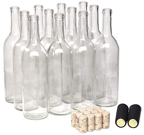 North Mountain Supply 750ml Clear Glass Bordeaux Wine Bottle Flat-Bottomed Cork Finish - with #8 Premium Natural Corks & PVC Shrink Capsules - Case of 12