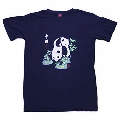 THY COLLECTIBLES Chinese Culture Crewneck T Shirt Panda Dark Blue (Asia L=US Medium) (Collectible Tees)