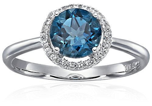 Topaz Zircon Ring (Sterling Silver London Blue Topaz And Natural White Zircon Classic Round Princess Di Halo Engagement Ring, Size 7)