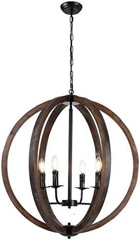 Decomust 30 Vintage Pendant Orb Chandelier Light Wood Wooden Frame Iron Band Sphere Globe Ceiling Light Fixture 4 Lamps
