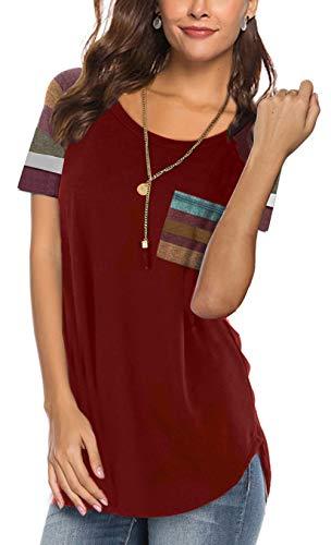 Aokosor Short Sleeve Tee Shirts for Women Plus Size Plain Loose Tshirts Summer Tops