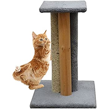 Amazon Com Usa Made Wooden Cat Scratching Post In Gray