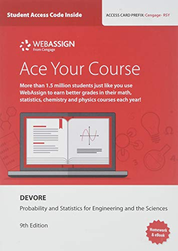 Bundle: WebAssign Printed Access Card for Devore's Probability and Statistics for Engineering and the Sciences, 9th Edition, Single-Term, 9th + JMP Printed Access Card for Peck's Statistics