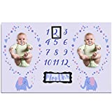 Twins Baby Gifts & Monthly Milestone Photo Blanket | Baby Shower Gift - Elephant 35'×63'