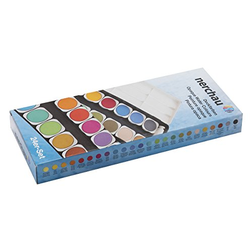 LUKAS Aquarell Studio Watercolor Paint Set Nerchau Professional High Quality High Pigment Lightfast German Studio Concentrated Watercolor Paint Set – [Opaque Set of 24 Assorted Round Pans] (Opaque Watercolor)