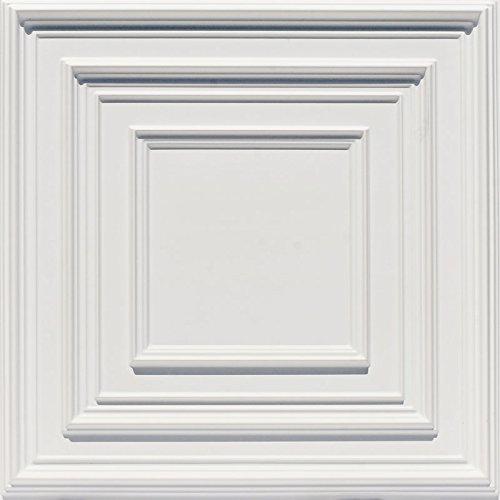 Scoolhouse-Faux Tin Ceiling Tile - White Matte - Matte White Ceiling Medallion