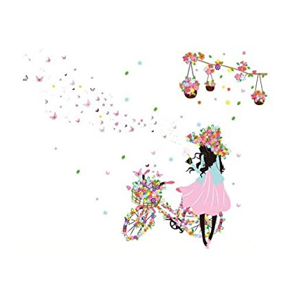 ca46009eac27 Buy Sodial(R)Diy Pvc Large Pink Girl Butterfly Bedroom Wall Stickers Home  Decor Removable Background Wallpaper Wall Stickers Bicycle Girl Online at  Low ...
