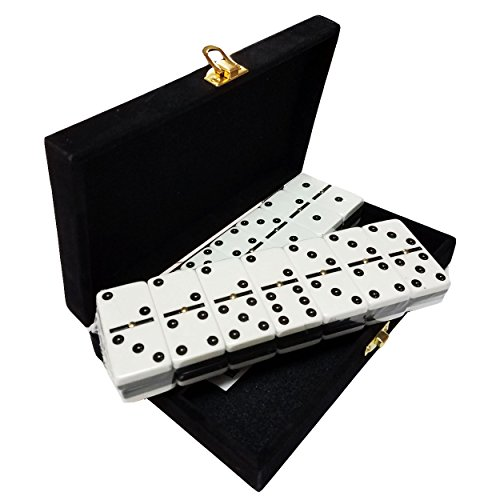 (Domino Double Six - Black & White Two Tone Tile Jumbo Tournament Size w/Spinners in Deluxe Velvet Case)
