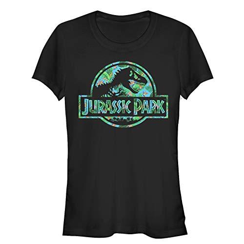 Jurassic Park Juniors' Floral T Rex Logo Black T-Shirt Carnivore T-rex Juniors T-shirt