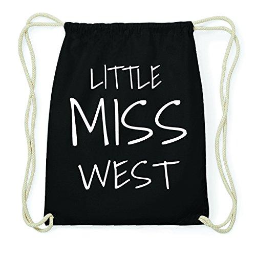 JOllify WEST Hipster Turnbeutel Tasche Rucksack aus Baumwolle - Farbe: schwarz Design: Little Miss
