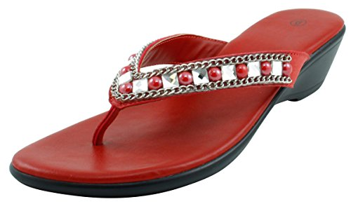 Cambridge Select Women's Studded Crystal Rhinestone Bead Chain Thong Flip-Flop Mid Wedge Sandal (9 B(M) US, Red) (Low Wedge Flop Flip)