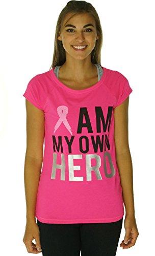 Ideology 'I Am My Own Hero' Pink Ribbon T-Shirt Large