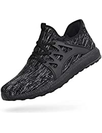 Mens Walking Shoes Lightweight Breathable Air Knitted Running Shoes for Boys Athletics Gym Workout Tennis Sneakers Gray/Black 9.5