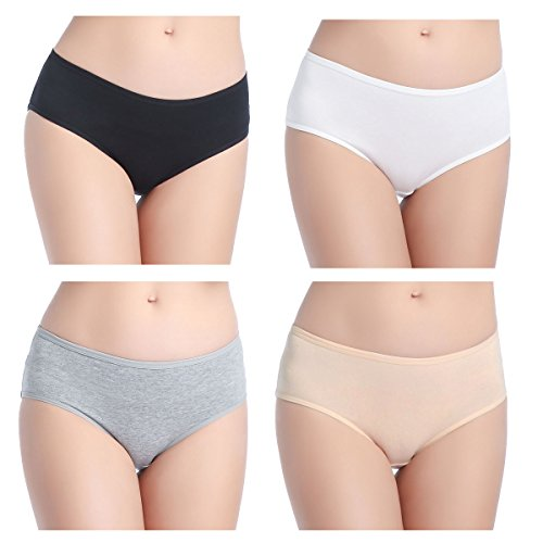 wirarpa Women's Low Rise Cotton Brief Panties 4 Pack Ladies Covered Hipster Underwear Size 4 Solid Color